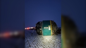 The train derailment near Portage la Prairie. (Source: Twitter/RCMP Manitoba)