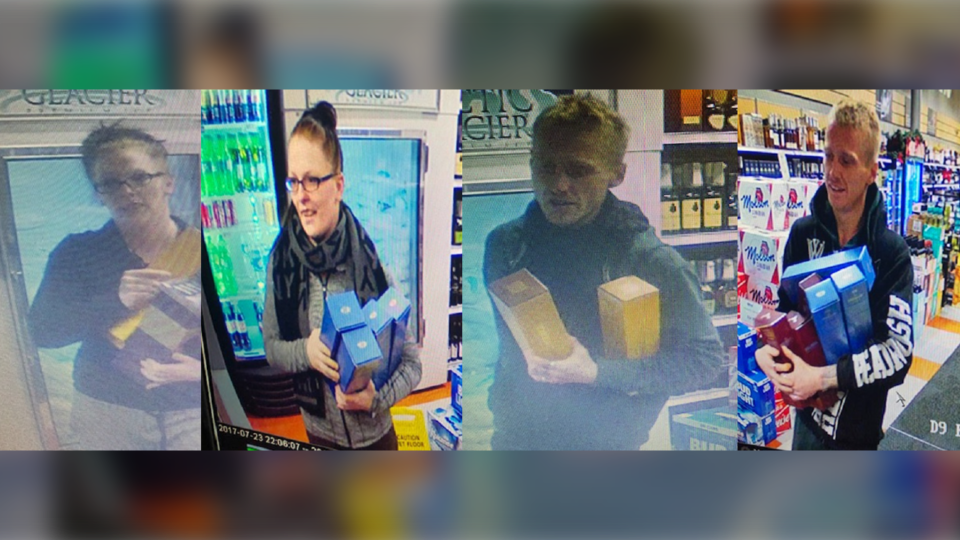Calgary police say these two targeted at least six Liquor Depot stores in the month of December.