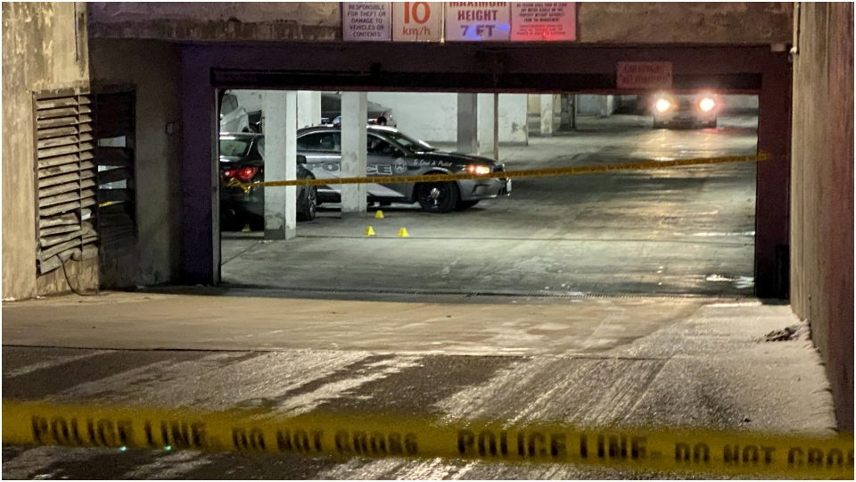 Police have taped off a parking garage in Malvern after a shooting sent a man to hospital where he later died. (CP24/Peter Muscat)