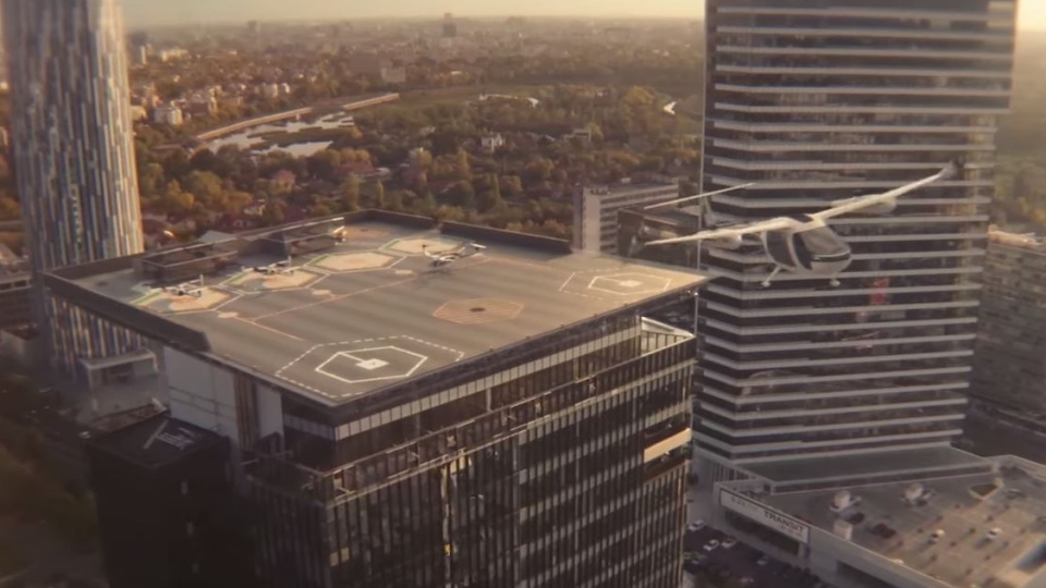 A mock-up of a flying Uber aircraft is seen in this video released by Uber in 2019. (Source: Uber, YouTube)