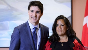 Prime Minister Justin Trudeau and Veterans Affairs Minister Jodie Wilson-Raybould attend a swearing in ceremony at Rideau Hall in Ottawa on Monday, Jan. 14, 2019. Veterans Affairs Minister Wilson-Raybould is quitting the federal cabinet. THE CANADIAN PRESS/Sean Kilpatrick