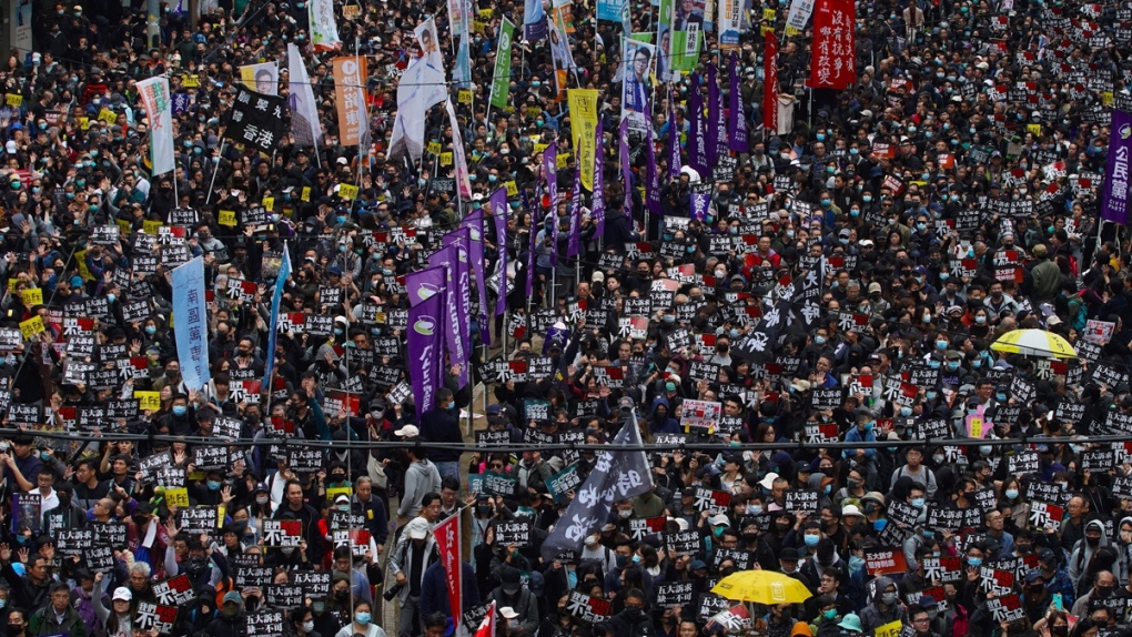 The annual pro-democracy march in Hong Kong