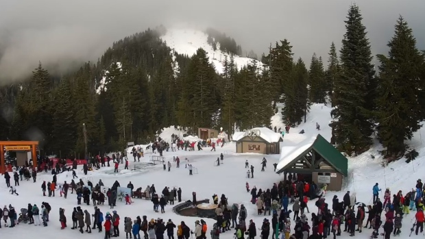 Visitors wait in long lineups at Grouse Mountain on New Year's Day 2020. (Grouse Mountain web cam)