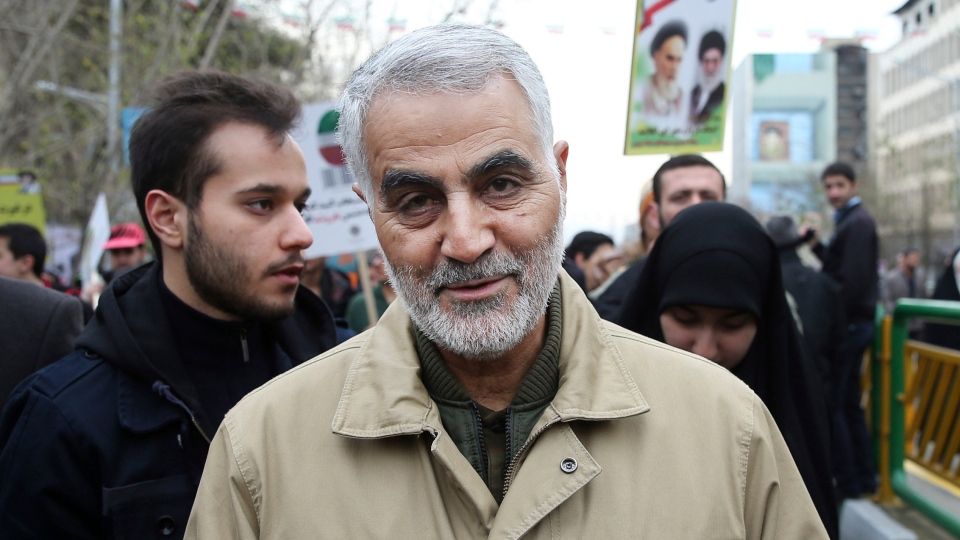 In this Thursday, Feb. 11, 2016, file photo, Qassem Soleimani, commander of Iran's Quds Force, attends an annual rally commemorating the anniversary of the 1979 Islamic revolution, in Tehran, Iran. Iraqi TV and three Iraqi officials said Friday, Jan. 3, 2020, that Gen. Qassim Soleimani, the head of Iran's elite Quds Force, has been killed in an airstrike at Baghdad's international airport. (AP Photo/Ebrahim Noroozi, File)