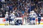 Toronto Maple Leafs' Alexander Kerfoot (15), William Nylander (88), Travis Dermott (23) and Cody Ceci (83) celebrate Dermott's goal during second period NHL action against the Winnipeg Jets, in Winnipeg on Thursday, Jan. 2, 2020. THE CANADIAN PRESS/John Woods