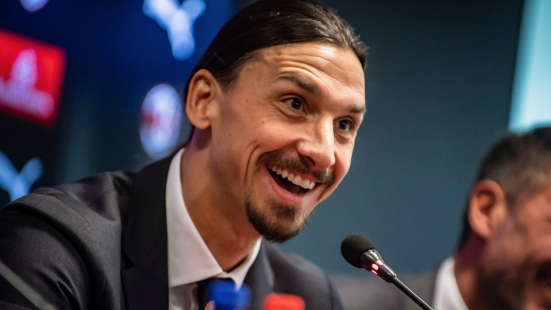 Zlatan Ibrahimovic talks to reporters during a press conference the AC Milan team headquarters, in Milan, Italy, Friday, Jan. 3, 2020. (Claudio Furlan/LaPresse via AP)