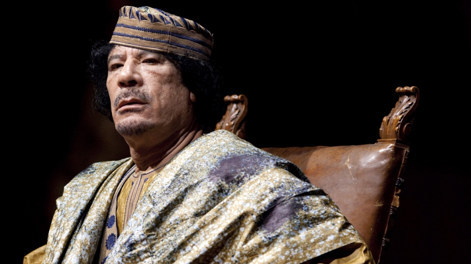 Libyan leader Moammar Gadhafi delivers a speech in Rome, on June 12, 2009. (Andrew Medichini / AP)