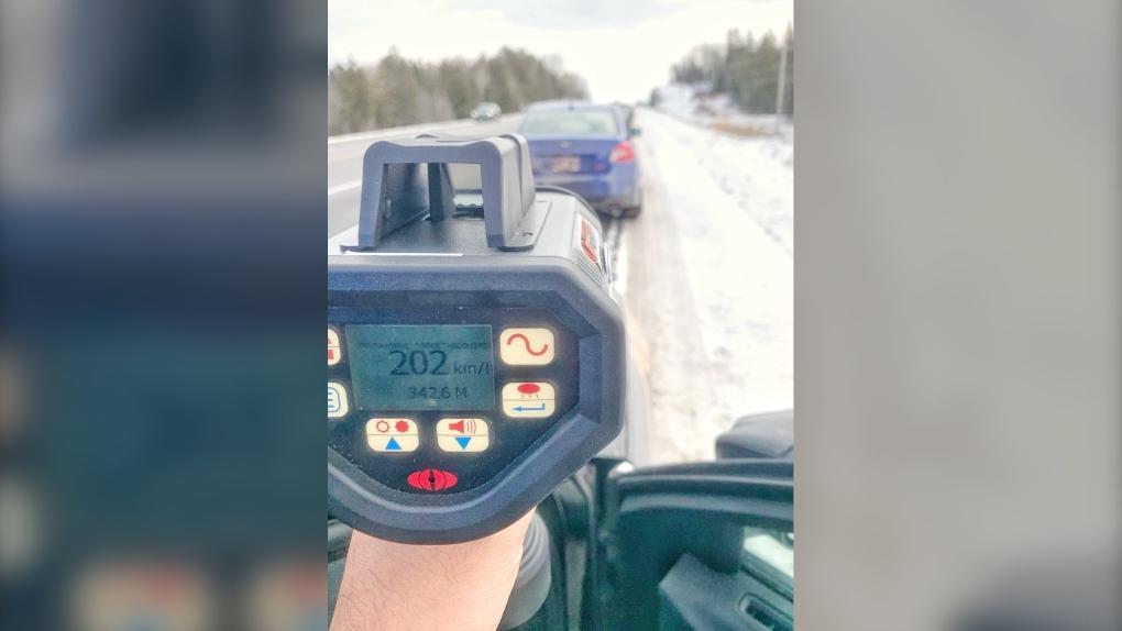 Radar gun registered vehicle going 202 km/h