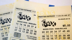 A Lotto Max ticket is shown in Toronto on Monday Feb. 26, 2018. (THE CANADIAN PRESS)