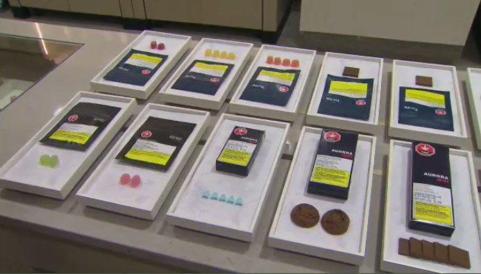 A display of cannabis products to be offered by The Ontario Cannabis Store.