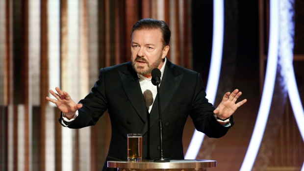 Host Ricky Gervais speaking at the 77th Annual Golden Globe Awards at the Beverly Hilton Hotel in Beverly Hills, Calif., on Sunday, Jan. 5, 2020. (Paul Drinkwater/NBC via AP)