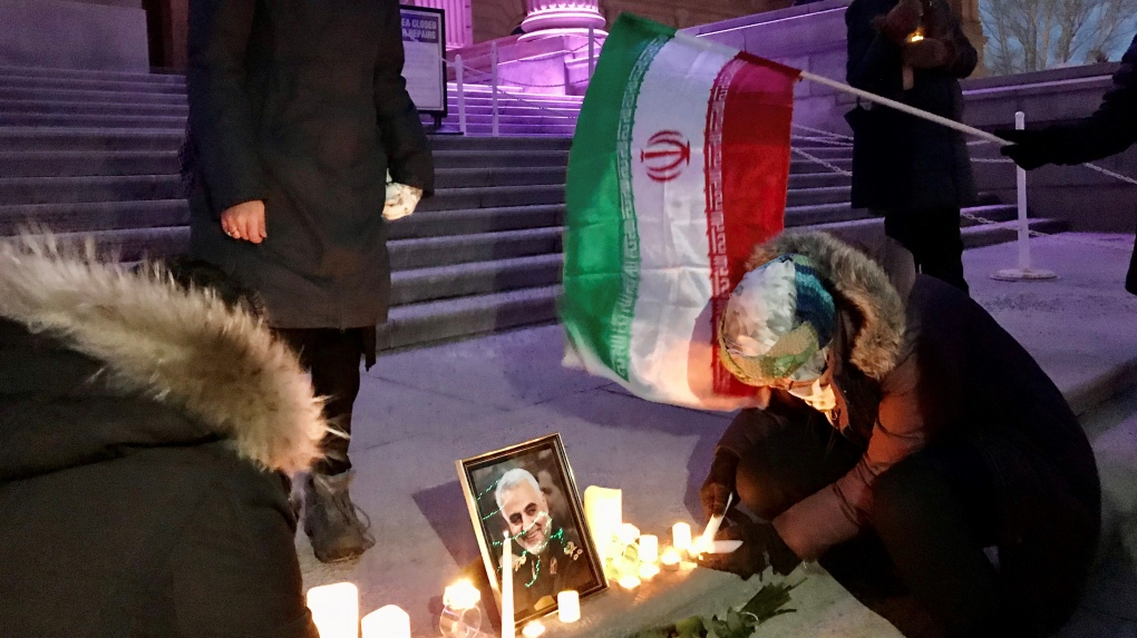 Iranian general killed in airstrike honoured at tense Edmonton vigil