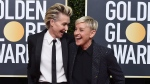 Portia de Rossi, left, and Ellen DeGeneres arrive at the 77th annual Golden Globe Awards at the Beverly Hilton Hotel on Sunday, Jan. 5, 2020, in Beverly Hills, Calif. (Photo by Jordan Strauss/Invision/AP)