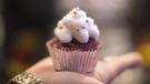 """A cupcake """"edible"""" is shown at a stall at an event in Toronto on Sunday, December 18, 2016. THE CANADIAN PRESS/Chris Young"""