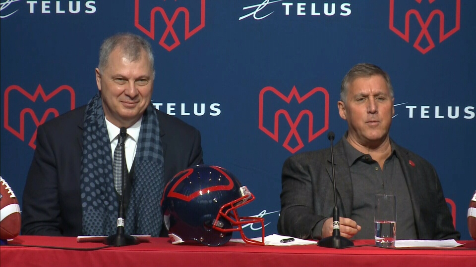 CFL commissioner Randy Ambrosie and new Alouettes owner Gary Stern at a news conference in Montreal. Co-owner Sid Spiegel was not there.
