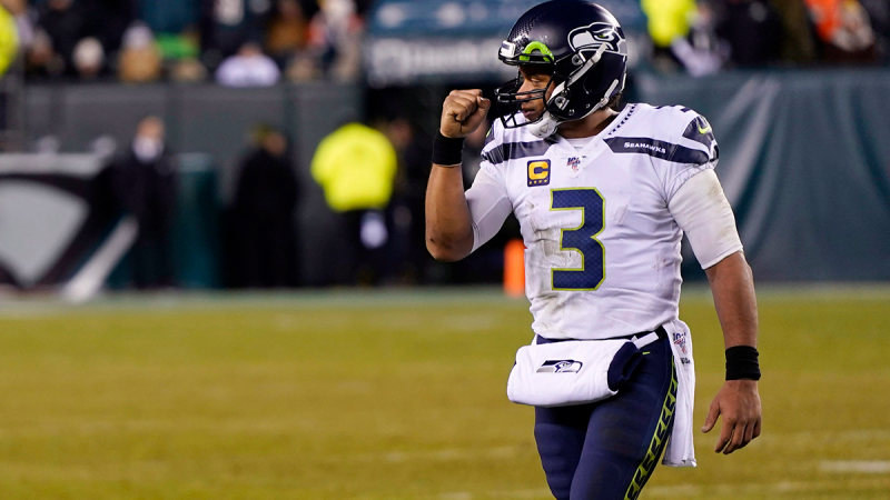 Seattle Seahawks' Russell Wilson reacts during the second half of an NFL wild-card playoff football game against the Philadelphia Eagles, Sunday, Jan. 5, 2020, in Philadelphia. (AP / Chris Szagola)