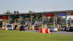 In this photo taken Oct. 9, 2019, traffic enters the United States from Canada at the Peace Arch Border Crossing, in Blaine, Wash. (AP / Elaine Thompson)