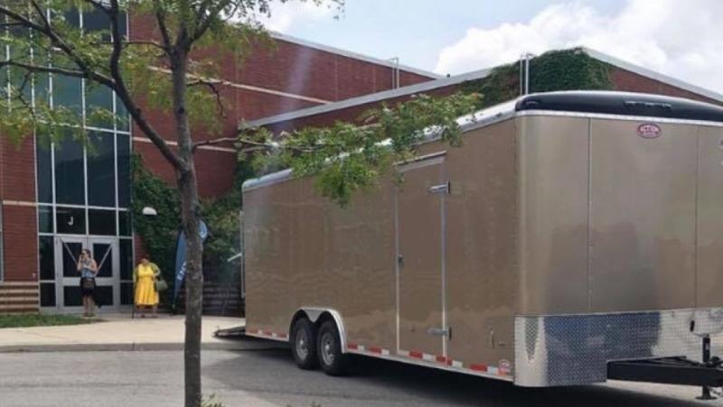 The trailer reported stolen from Vitalpoint Church in London. (Source: Vitalpoint Church Facebook)