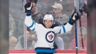 Winnipeg Jets' Nikolaj Ehlers celebrates after scoring against the Montreal Canadiens during second period NHL hockey action against the Montreal Canadiens in Montreal, Monday, January 6, 2020. (Source: The Canadian Press/Graham Hughes)