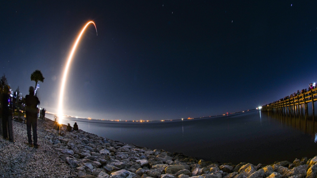 A SpaceX Falcon 9 rocket lifts off