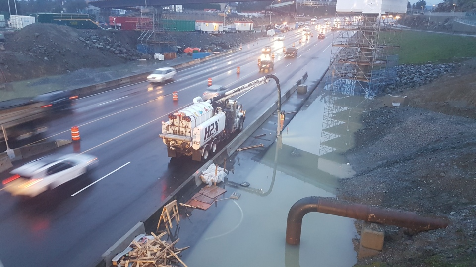 Highway lanes at the McKenzie interchange project reopened at approximately 7:45 a.m. Tuesday after flooding due to heavy rains: (BC Gov)