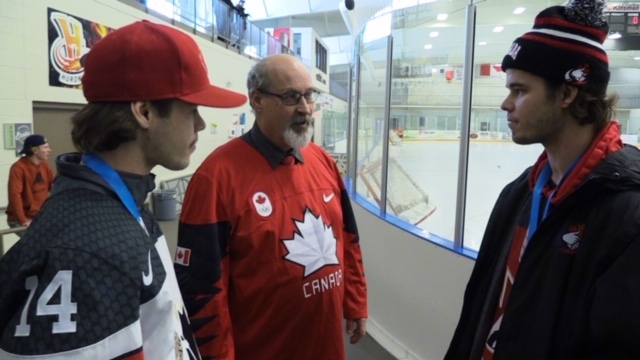 Jesse and Cody McIntyre, who won hockey silver at the 2019 Deaflympics, are celebrated in Clinton, Ont. on Tuesday, Jan. 7, 2020. (Scott Miller / CTV London)