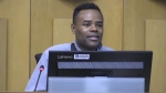 Councillor Mo Salih speaks at city hall in London, Ont. on Tuesday, Jan. 7, 2020. (Daryl Newcombe / CTV London)