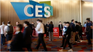 Attendees head to the convention floor on the first day of the CES tech show Tuesday, Jan. 7, 2020, in Las Vegas. (AP Photo/Ross D. Franklin)
