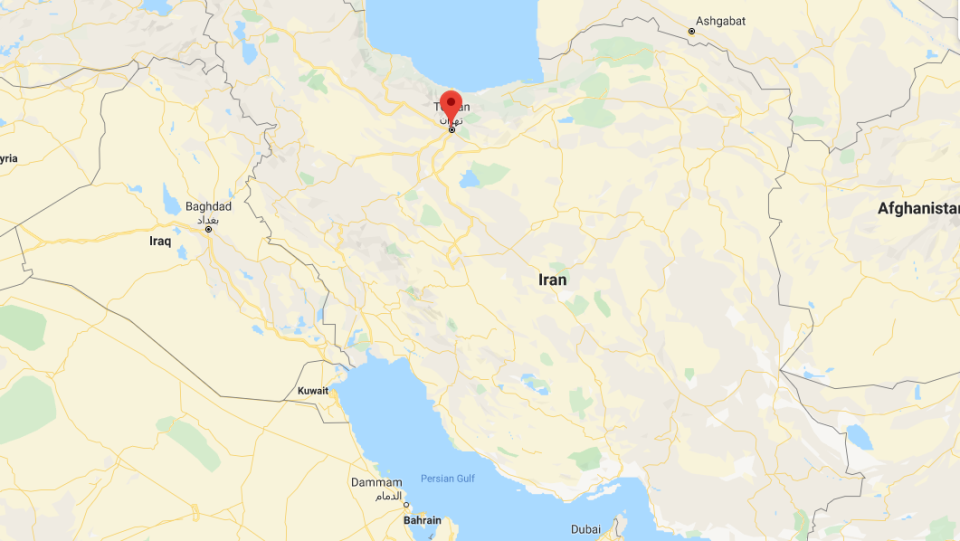 A map of Iran with Tehran highlighted. (Google Maps)
