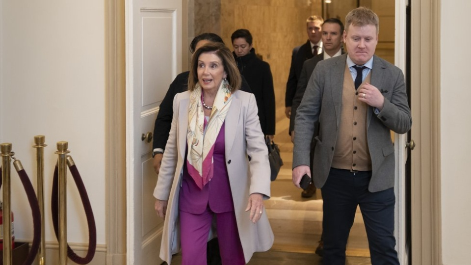 Speaker of the House Nancy Pelosi, D-Calif., arrives at the Capitol in Washington, Tuesday Jan. 7, 2020, as Democrats prepared largely symbolic resolutions under the War Powers Act to limit the president's military actions regarding Iran. (AP Photo/J. Scott Applewhite)