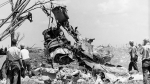 FILE--Investigators, in an attempt to determine the cause of a DC-8 crash, haul one of the engines from the main crater during cleanup on July 7, 1970. The Air Canada jetliner crashed when landing killing 97 passengers and nine crew members. (THE CANADIAN PRESS/STF)
