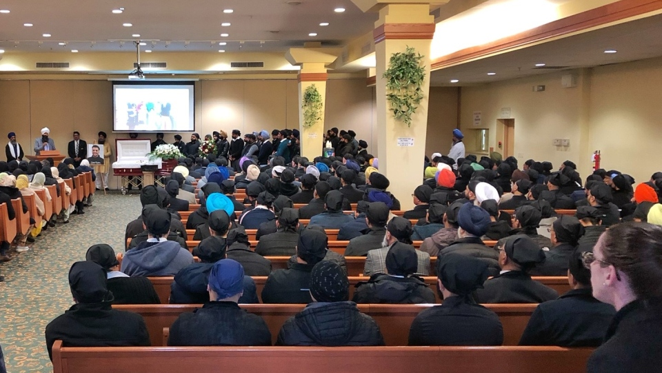Hundreds of mourners gathered at a funeral for taxi driver Sanehpal Randhawa in Delta, B.C. on Wednesday, Jan. 8, 2019.