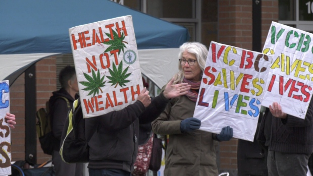 The unlicensed cannabis shop held a protest outside of Finance Minister Carole James' office Wednesday: Jan. 8, 2020 (CTV News)