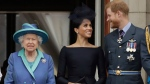 In this Tuesday, July 10, 2018 file photo Queen Elizabeth II, and Meghan the Duchess of Sussex and Prince Harry watch a flypast of Royal Air Force aircraft pass over Buckingham Palace in London. (AP Photo/Matt Dunham, File)