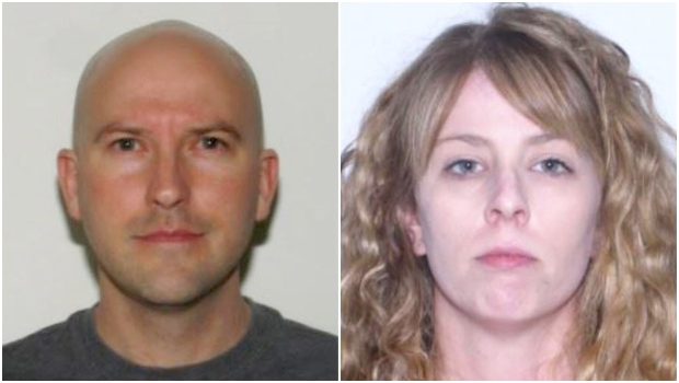 Police are looking for Craig Graydon Douglas Bushell, 40, left, and Chrissy Jennifer Jahntz, 34, wanted on warrants for operating an illegal online cannabis dispensary. (Calgary police)