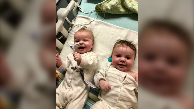 Andrea Johnson's twins in the hospital last year when they had RSV. (Source: Andrea Johnson)