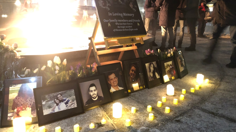 Hundreds of people attended a candlelight vigil on Parliament Hill Thursday, Jan. 9, 2020 to remember the 63 Canadians killed in the Ukrainian International Airlines crash in Iran. (Christina Succi/CTV Ottawa)