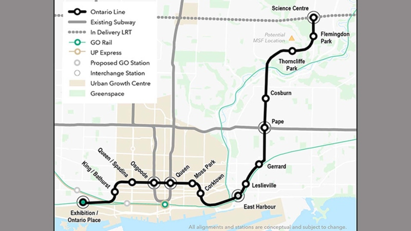 A proposed map of the Ontario Line is pictured. (Metrolinx)