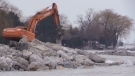 Stones aimed at stopping erosion are placed along the Lake Huron shoreline in Goderich, Ont. on Friday, Jan. 10, 2020. (Scott Miller / CTV London)