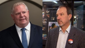 Ontario Premier Doug Ford (left) and president of of the Ontario Secondary School Teachers' Federation, Harvey Bischof, (right) are seen in this composite image.