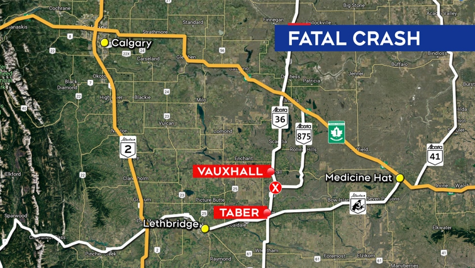 Location of Friday morning's fatal crash on Highway 36, north of the town of Taber
