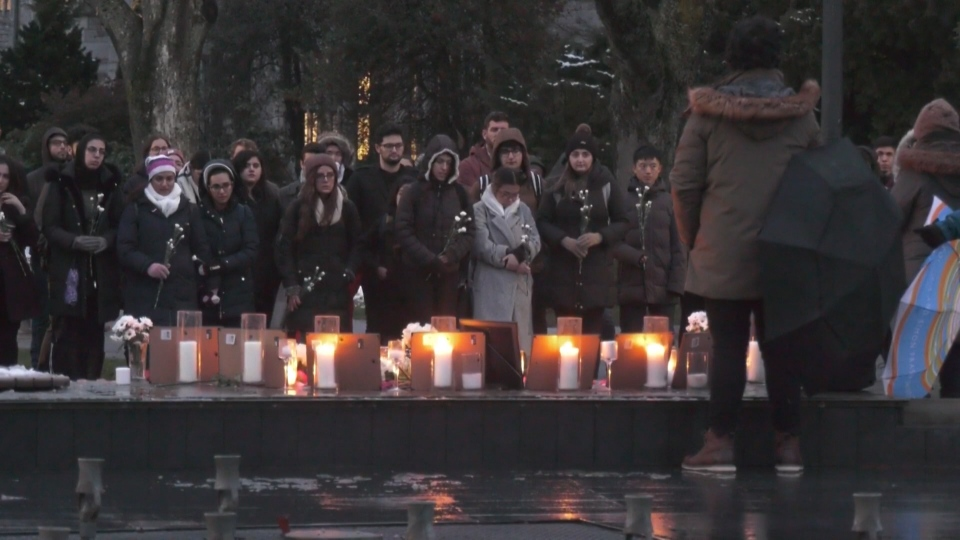 The Karvan Student Association at the University of British Columbia held a Candlelight vigil Friday in memory of those who died in the Ukrainian International Airlines Flight 752 tragedy in Iran. (CTV)