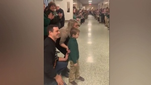 John Oliver Zippay was welcomed back to school with a standing ovation by his classmates after he finished his final chemotherapy treatment.