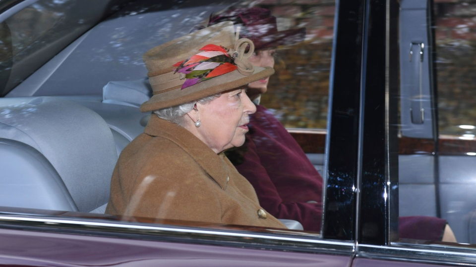 Queen Elizabeth II arrives to attend a morning church service at St. Mary Magdalene Church in Sandringham, England, Sunday Jan. 12, 2020. (Joe Giddens/PA via AP)