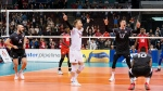 Canada's Nicholas Hoag (4) celebrates with teammates Blair Bann (19), Graham Vigrass (17) and Sharone Vernon-Evans (10) after defeating Cuba 3-2 during the men's volleyball 2020 Olympic qualification tournament at the Pacific Coliseum in Vancouver, on Saturday, January 11, 2020. THE CANADIAN PRESS/Richard Lam