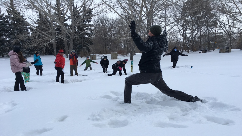 Regina residents tried out a snowy yoga-alternative called
