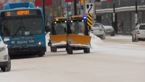 Snow plows hit the streets of Saskatoon after a snow event is declared in January 2020.