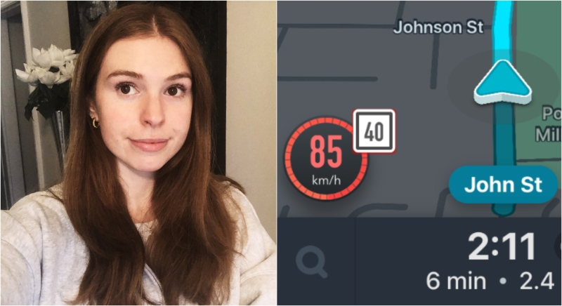 Thornhill woman Alanna Moness said she feared for her life when her Uber driver sped through residential areas going over double the speed limit. (Supplied)