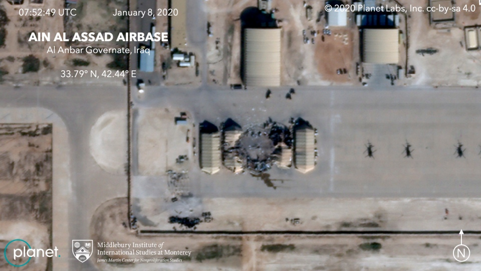 This satellite image provided by the Middlebury Institute of International Studies and Planet Labs Inc., on Wednesday, Jan. 8, 2020 shows damage caused by an Iranian missile strike at the Ain al-Asad air base in Iraq. Iran's actions were in response to the U.S. killing of Revolutionary Guard Gen. Qassem Soleimani. On Friday, Jan. 20, 2020, The Associated Press reported on stories circulating online incorrectly asserting there had been casualties from the attack. Both U.S. and Iraqi forces confirmed soon after the missiles were launched that no casualties were reported, and in his comments about the attack President Donald Trump said no Americans or Iraqis were harmed. (Planet Labs Inc./Middlebury Institute of International Studies via AP)