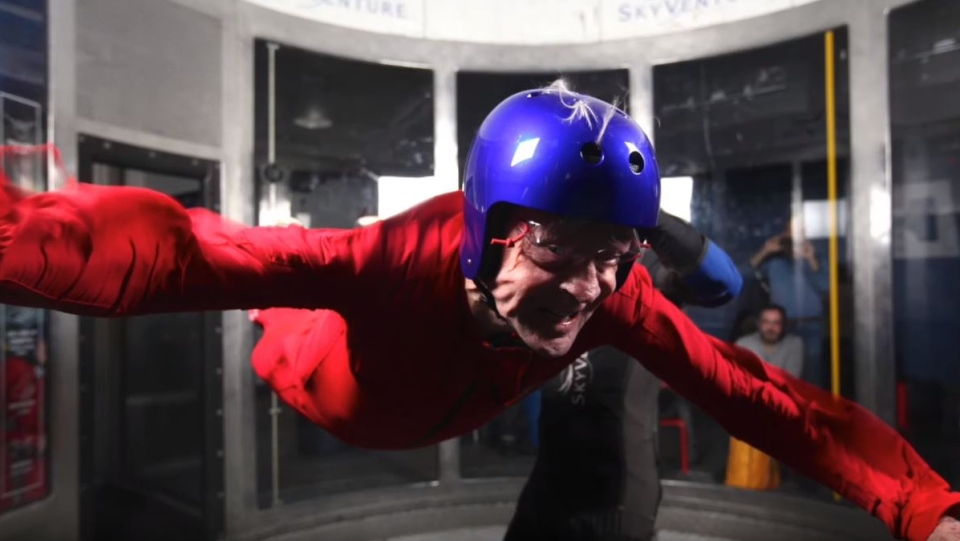 Jean Chrétien went indoor skydiving at Skyventure to celebrate his 86th birthday.